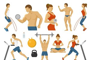 Fitness Decorative Flat Icons Set