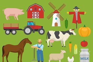 Farm Decorative Flat Icons Set