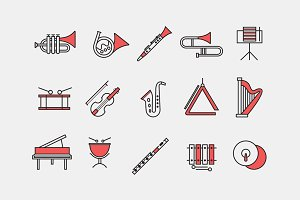 15 Orchestra Instrument Icons