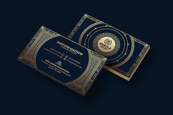Gold luxury business card business card templates creative market reheart Gallery