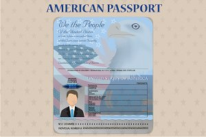 American Open Passport Vector