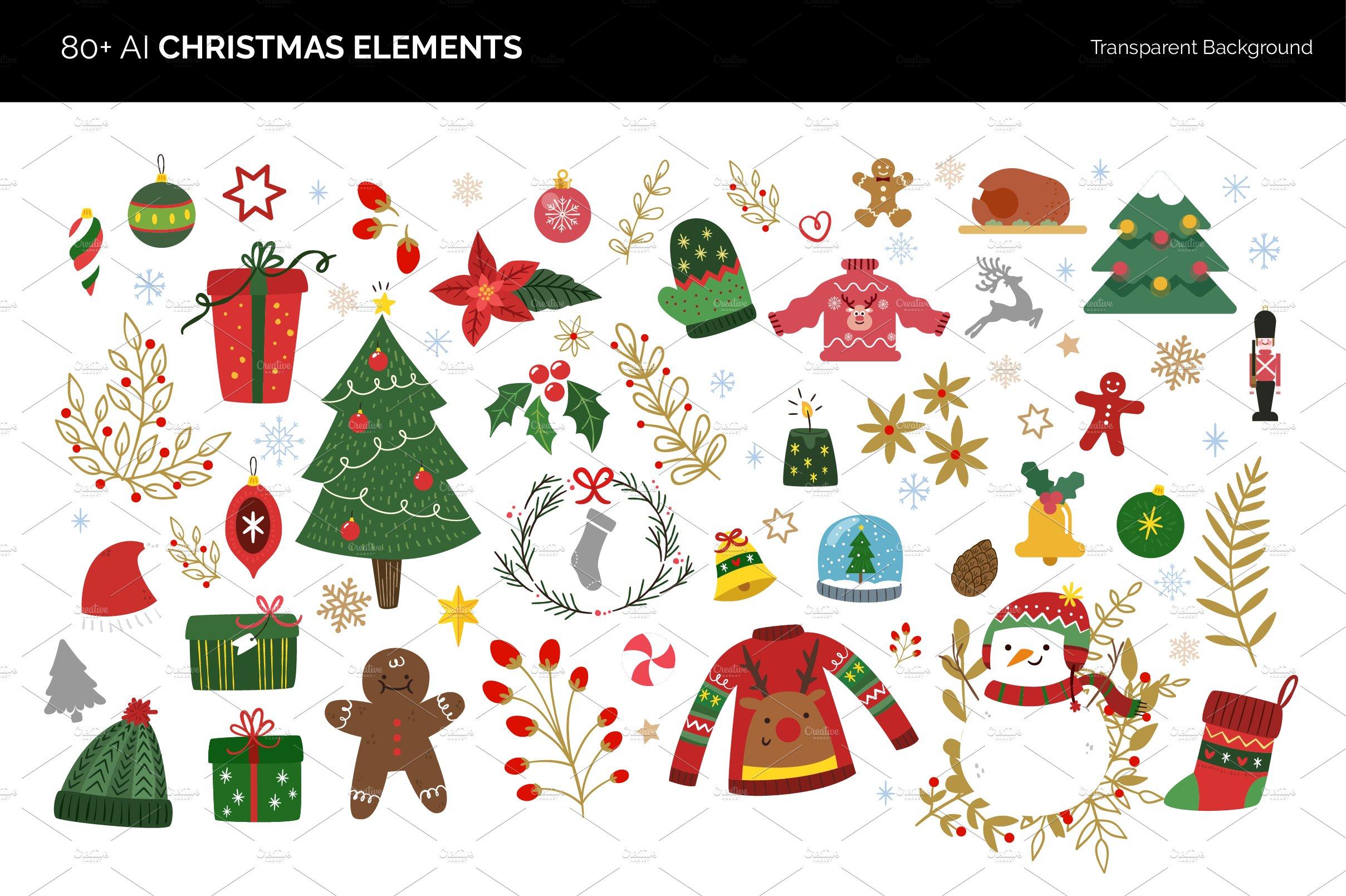 80 Vector Christmas Elements Illustrations Creative Market