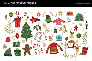80 + Vector Christmas Elements