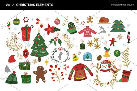 80 + Vector Christmas Elements
