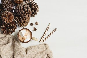 Cozy Fall Flatlay with Pinecones