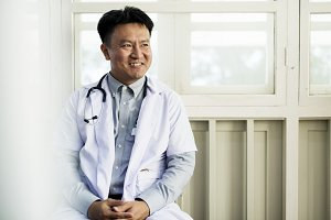 Asian doctor working at a hospital