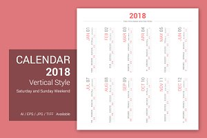 Calendar 2018 Vertical Design