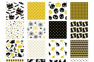 Elegant Halloween seamless patterns