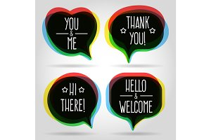 Speech bubbles welcome signs