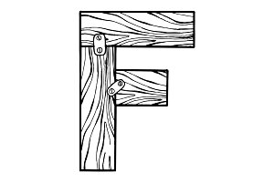Wooden letter F engraving vector illustration