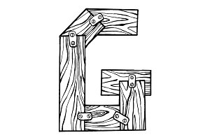 Wooden letter G engraving vector illustration
