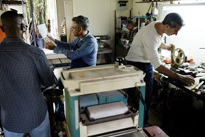 Men working in a workshop