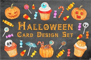 Hallloween Card Design Set