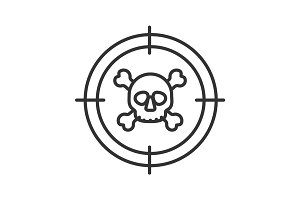 Aim on skull and crossbones linear icon
