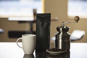 Steaming Coffee, Bag and Grinder