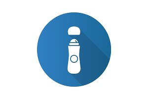 Roll antiperspirant flat design long shadow glyph icon