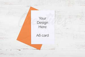 A6 Orange Envelope Stock Photo