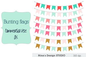 Coral, mint and gold bunting flags