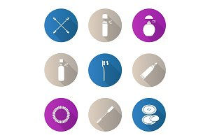 Cosmetics accessories flat design long shadow glyph icons set