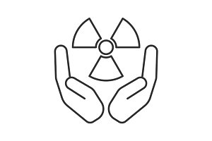 Open palms with atomic power symbol linear icon