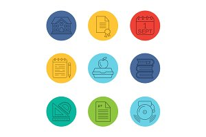 School and education linear icons set