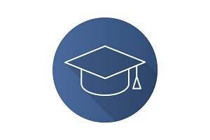Student's hat flat linear long shadow icon