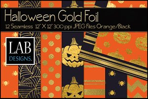 12 Halloween Gold Foil Backgrounds