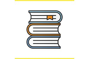 Books stack color icon