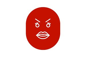 Angry smiley with female lips glyph icon