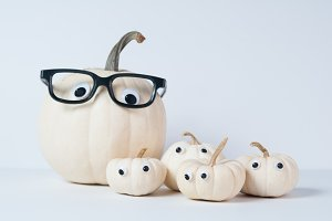 Cute white pumpkins for Halloween
