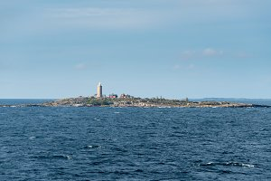 Small island and lighthouse outside Stockholm, Sweden
