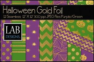 12 Halloween Gold Foil Textures