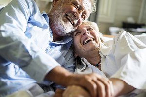 Elderly couple spend time together