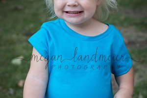 Toddler girl blue shirt mockup
