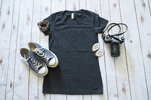 Women's Black T Flatlay