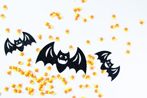Black Halloween Bats and Candy Corn