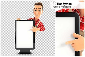 3D Handyman Pointing Billboard