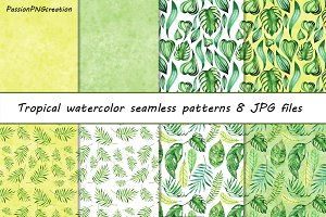 Tropical watercolor patterns