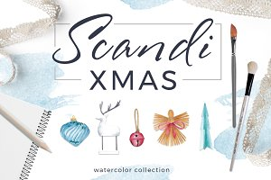 Scandi Xmas Watercolor Collection
