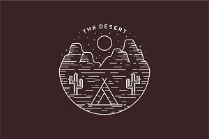 Desert Line Art Logo Badge