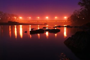 Night bridge on the river.