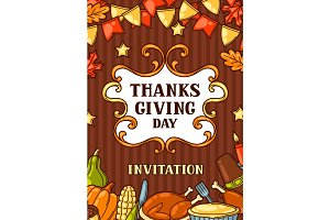 Happy Thanksgiving Day invitation with holiday objects
