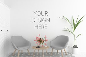 Blank wall mockup - wall art display