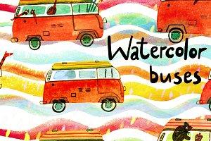 Watercolor buses