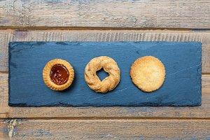 Three cookies on granite plate