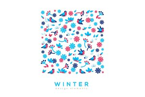 Winter cute paper cut background