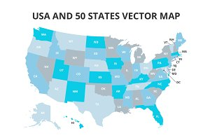 USA and 50 States Vector Map