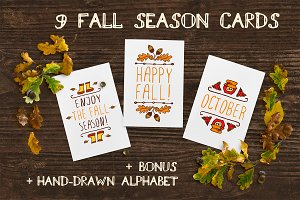 Hand-sketched fall season cards