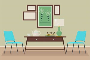 House home interior design. chair, table, lamp, Isolated vector objects. Scene creator set.