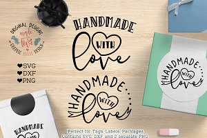 Handmade with Love SVG, DXF, PNG